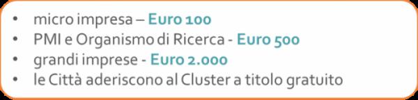 micro impresa - euro 100; PMI e Organismo di Ricerca - euro 500; Grandi Imprese - euro 2.000; le città aderiscono a titolo gratuito
